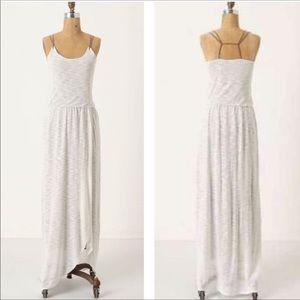 anthro Deletta Tulip Wrap Maxi Dress White & Taupe